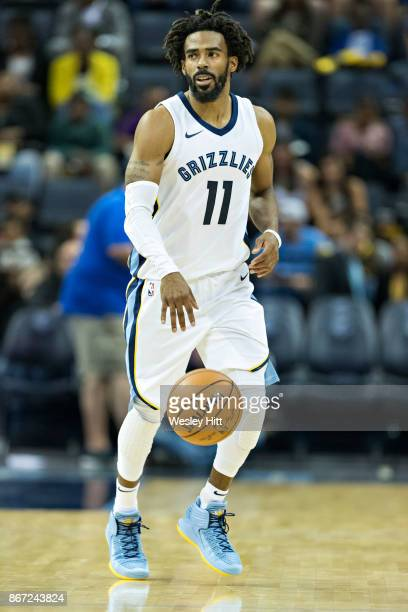 Mike Conley of the Memphis Grizzlies on the court during a game against the Dallas Mavericks at the FedEx Forum on October 26 2017 in Memphis...