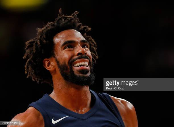 Mike Conley of the Memphis Grizzlies reacts during free throws against the Atlanta Hawks at McCamish Pavilion on October 9 2017 in Atlanta Georgia...