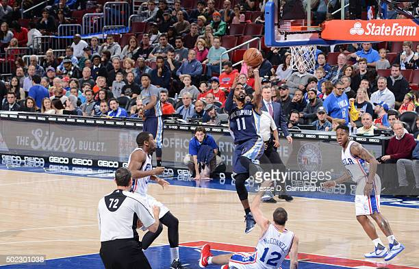 Mike Conley of the Memphis Grizzlies shoots the ball against the Memphis Philadelphia 76ers at Wells Fargo Center on December 22 2015 in Philadelphia...
