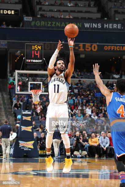 Mike Conley of the Memphis Grizzlies shoots the ball during a game against the New York Knicks on April 7 2017 at FedExForum in Memphis Tennessee...