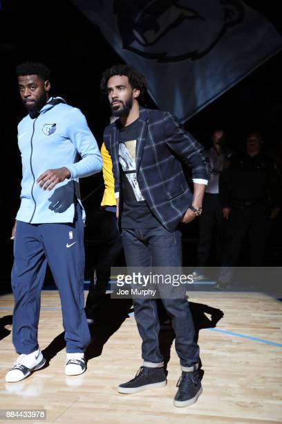 Mike Conley of the Memphis Grizzlies stands on the court before the game against the San Antonio Spurs on December 1 2017 at FedExForum in Memphis...