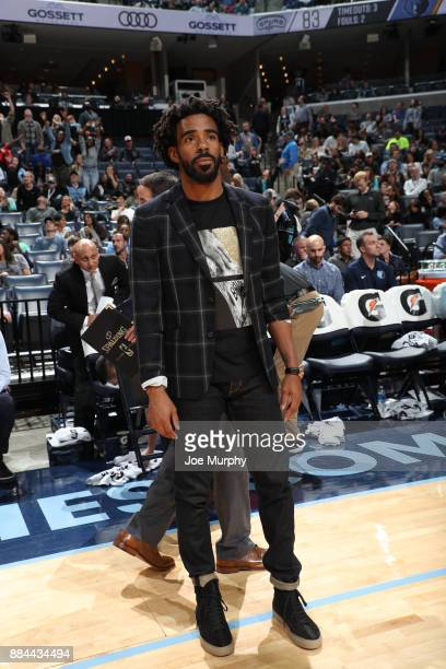 Mike Conley of the Memphis Grizzlies stands on the court during the game against the San Antonio Spurs on December 1 2017 at FedExForum in Memphis...