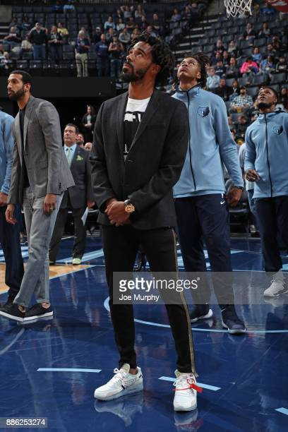 Mike Conley of the Memphis Grizzlies stands on the court during the game against the Minnesota Timberwolves on December 4 2017 at FedEx Forum in...