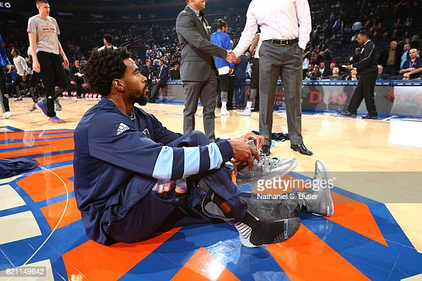 Mike Conley of the Memphis Grizzlies stretches before the game against the New York Knicks on October 29 2016 at Madison Square Garden in New York...