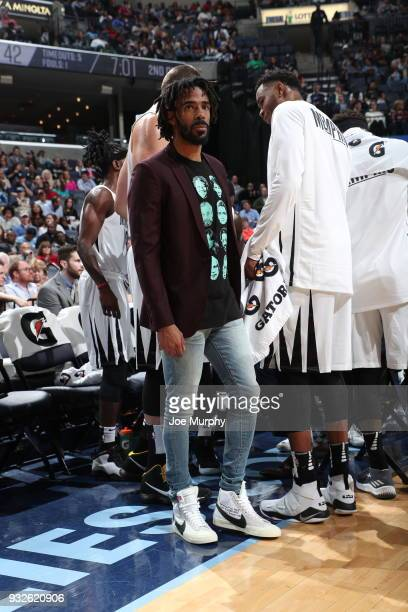 Mike Conley of the Memphis Grizzlies watches from the sidelines during the game against the Chicago Bulls on March 15 2018 at FedExForum in Memphis...
