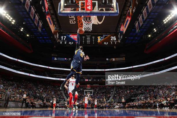 Mike Conley of the Utah Jazz shoots the ball against the Detroit Pistons on March 7 2020 at Little Caesars Arena in Detroit Michigan NOTE TO USER...