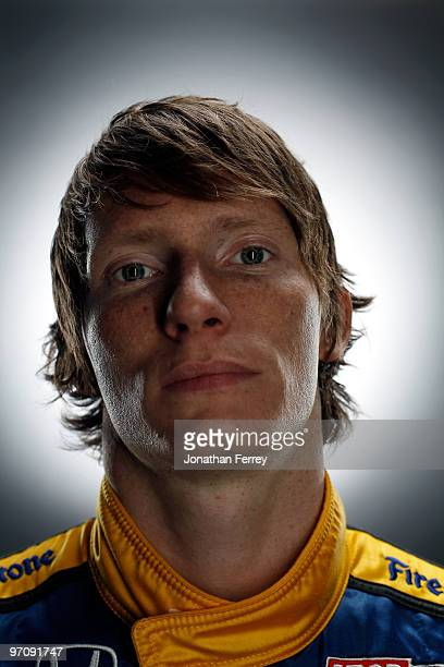 Mike Conway driver of the Dreyer Reinbold Racing Honda Dallara poses for a portrait during the IRL Indy Car Series Media Day at Barber Motorsports...