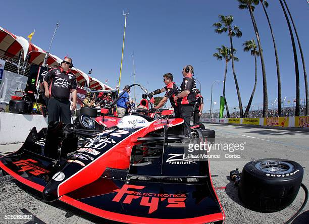 Mike Conway in the Dreyer Reinbold Racing car during practice for the IZOD Indycar Series race at the Toyota Grand Prix of Long Beach