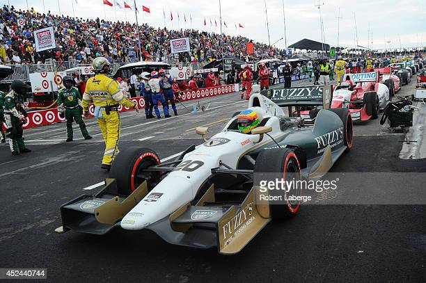 Mike Conway of England driver of the Ed Carpenter Racing Dallara Chevrolet waits in pit lane during a red flag during race 2 of the Verizon IndyCar...