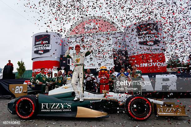 Mike Conway of England driver of the Ed Carpenter Racing Dallara Chevrolet celebrates his victory in the Verizon IndyCar Series Honda Indy Toronto...