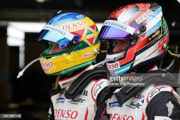 Mike Conway of Great Britain and Toyota Gazoo Racing and Jose Maria Lopez of Argentina and Toyota Gazoo Racing during practice at Fuji International...