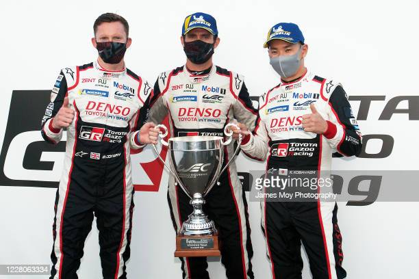 Mike Conway of Great Britain and Toyota Gazoo Racing Jose Maria Lopez of Argentina and Toyota Gazoo Racing and Kamui Kobayashi of Japan and Toyota...
