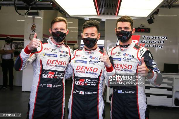 Mike Conway of Great Britain and Toyota Gazoo Racing Kamui Kobayashi of Japan and Toyota Gazoo Racing and Jose Maria Lopez celebrate pole position...