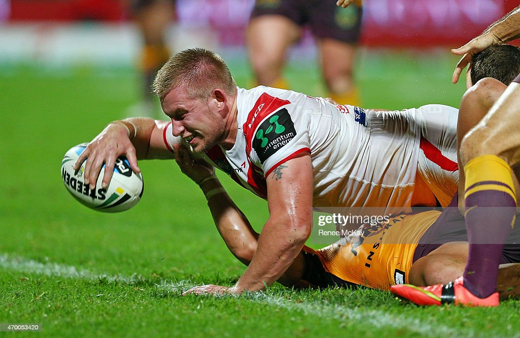 Mike Cooper of the Dragons scores a try during the round seven NRL match between the St George Illawarra Dragons and the Brisbane Broncos at WIN Jubilee Stadium on April 17, 2015 in Sydney, Australia.