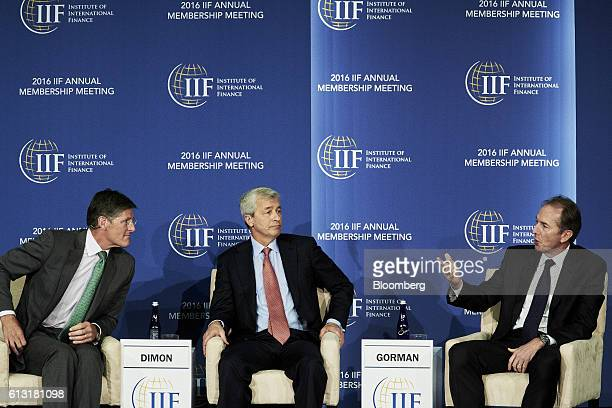 Mike Corbat chief executive officer of Citigroup Inc from left Jamie Dimon chief executive officer of JPMorgan Chase Co and James Gorman chief...