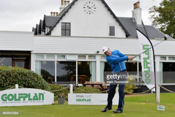 Mike Cordner of St Andrews Golf school on the first tee during the Golfplan Insurance PGA ProCaptain Challenge Scotland Regional Qualifier at...