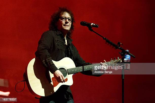 Mike Craft of Smokie performs on stage at York Barbican on March 15 2013 in York England