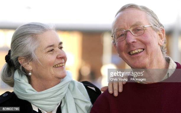 Mike Cross who has become the oldest man to reach the South Pole on foot despite suffering from diabetes is greeted by his wife Diana at Heathrow...
