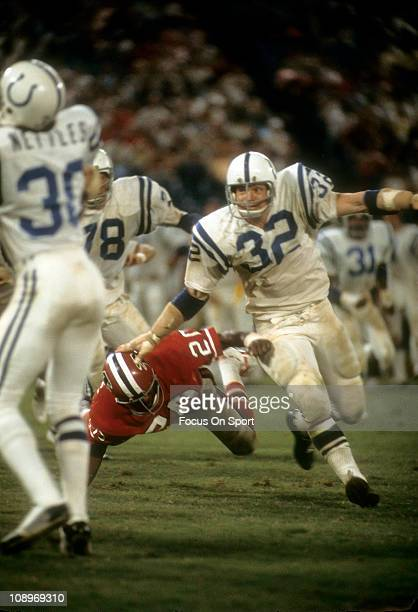 Mike Curtis of the Baltimore Colts in action against the Atlanta Falcons during an NFL football game at AtlantaFulton County Stadium November 17 1974...