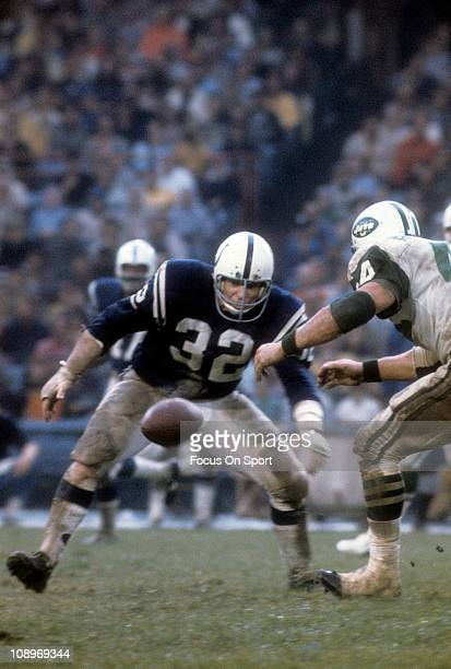 Mike Curtis of the Baltimore Colts in action against the New York Jets during an NFL football game at Memorial Stadium circa 1972 in Baltimore...