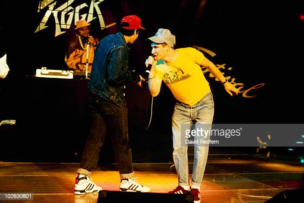 Mike D and Ad Rock of the Beastie Boys perform on stage at the Montreux Rock Festival held in Montreux Switzerland in May 1987