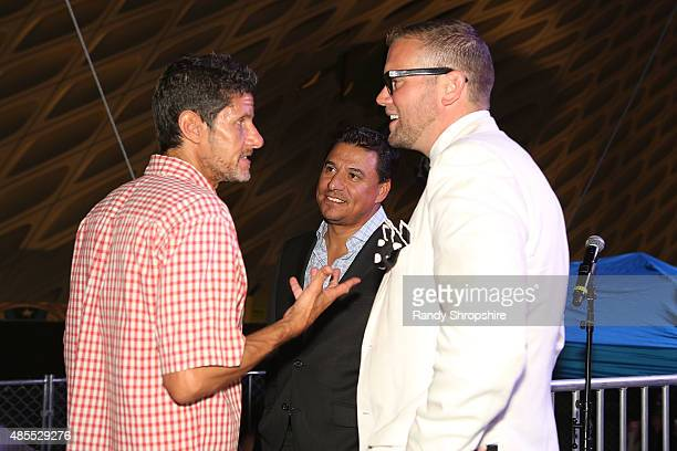 DJ Mike D Councilman Jose Huizar and David Bernahl attend the 5th Annual Los Angeles Food Wine Festival on August 27 2015 in Los Angeles California