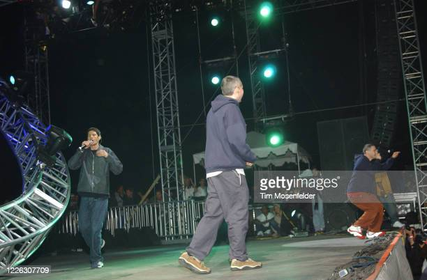 Mike D, MCA, and Ad-Rock of the Beastie Boys perform during Coachella 2003 at the Empire Polo Fields on April 26, 2003 in Indio, California.
