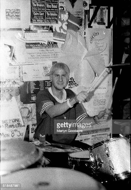 Mike D of the Beastie Boys plays the drums during at a secret gig in the basement of Slam City Skates shop, Covent Garden, London, United Kingdom,...