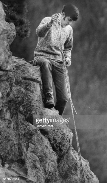 Mike Dallas pauses to untangle a rope during the Clear Creek outing near Idaho Springs Dallas initiated the program of mountain climbing for the...