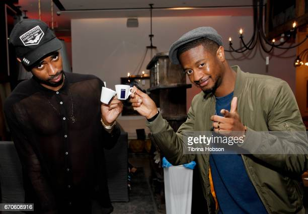 Mike Damn and Cam From DT drink Lavazza Coffee at the Premiere Of Charlie Puth's new single 'Attention', in partnership with Spotify, Artist Partner...