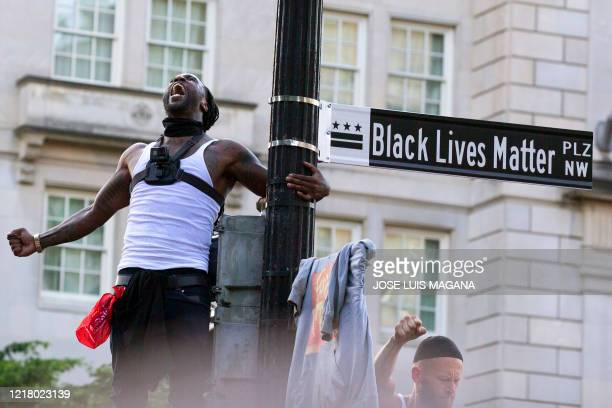 Mike D'angelo screams holding a street sign marking the newly named Black Lives Matter Plaza near the White House during a demonstration against...