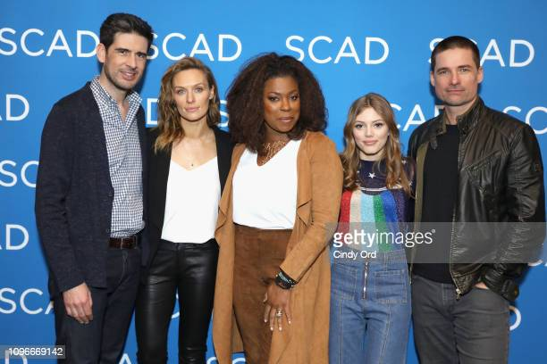 Mike Daniels Michaela McManus Lorraine Toussaint Grace Van Dien and Warren Christie attend the The Village screening during SCAD aTVfest 2019 at...