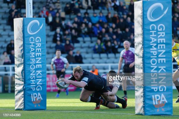 Mike Daniels of Newcastle Falcons scores between the posts during the Greene King IPA Championship match between Newcastle Falcons and Cornish...