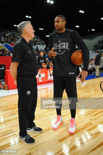 Mike D'Antoni and Al Horford of Team Stephen talk during NBA AllStar Media Day Practice as part of 2018 NBA AllStar Weekend at the Los Angeles...