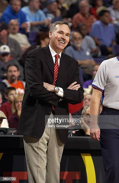 Mike D'Antoni coaches his first game as head coach of the Phoenix Suns against the New Orleans Hornets December 11 2003 at America West Arena in...