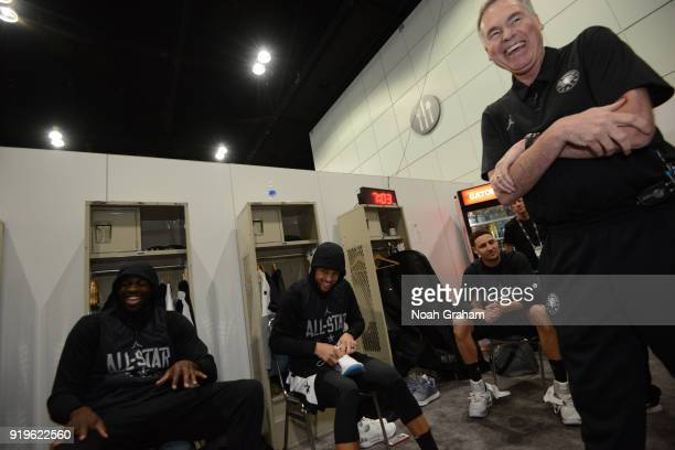 Mike D'Antoni head coach of team Stephen laughs with Draymond Green Stephen Curry and Klay Thompson of team Stephen befor the 2018 NBA All Star...