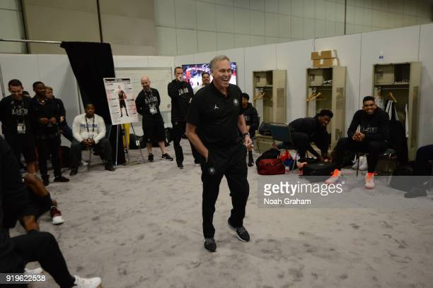 Mike D'Antoni head coach of team Stephen prepares for the 2018 NBA All Star Practice as part of 2018 AllStar Weekend at Verizon Up Arena at LACC on...