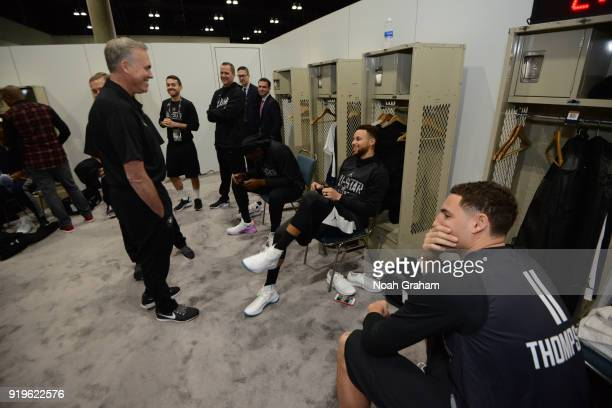 Mike D'Antoni head coach of team Stephen talks with Stephen Curry of team Stephen before the 2018 NBA All Star Practice as part of 2018 AllStar...