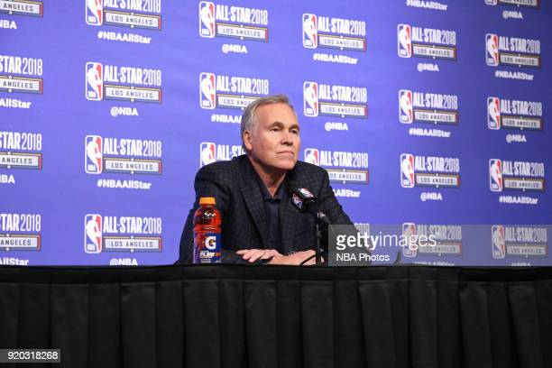 Mike D'Antoni of Team Stephen talks to the media during a press conference after the NBA AllStar Game as a part of 2018 NBA AllStar Weekend at...