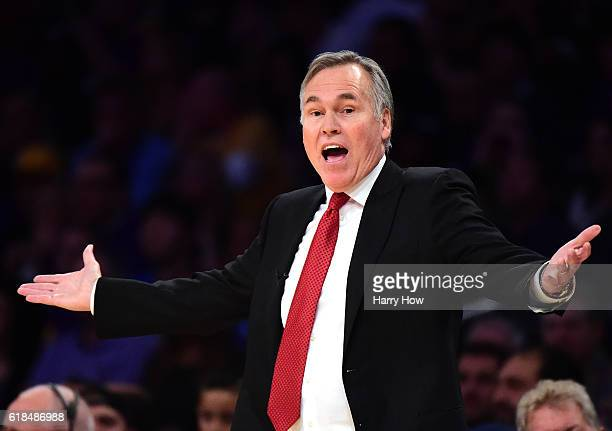 Mike D'Antoni of the Houston Rockets argues a call during the game against the Los Angeles Lakers at Staples Center on October 26 2016 in Los Angeles...