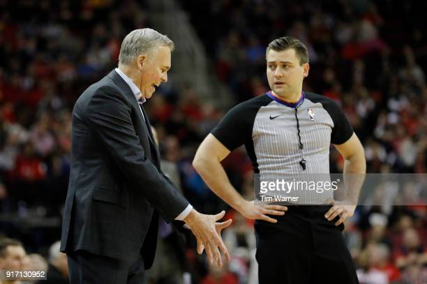 Mike D'Antoni of the Houston Rockets argues with referee Gediminas Petraitis in the second half against the Dallas Mavericks at Toyota Center on...