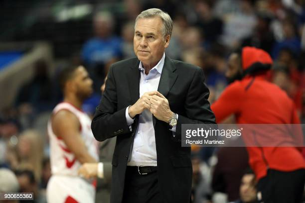 Mike D'Antoni of the Houston Rockets at American Airlines Center on March 11 2018 in Dallas Texas NOTE TO USER User expressly acknowledges and agrees...