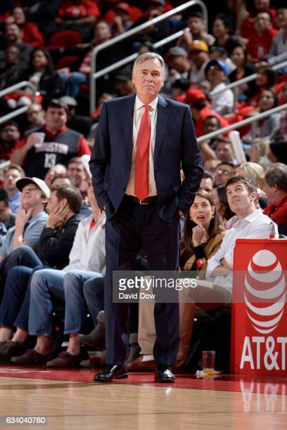 Mike D'Antoni of the Houston Rockets coaches against the Chicago Bulls during the game on February 3 2017 at the Toyota Center in Houston Texas NOTE...