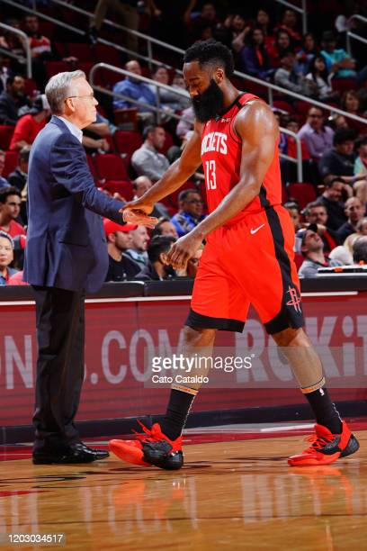 Mike D'Antoni of the Houston Rockets highfives James Harden of the Houston Rockets during the game against the New York Knicks on February 24 2020 at...