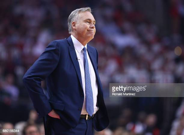 Mike D'Antoni of the Houston Rockets looks against the San Antonio Spurs during Game Three of the NBA Western Conference SemiFinals at Toyota Center...