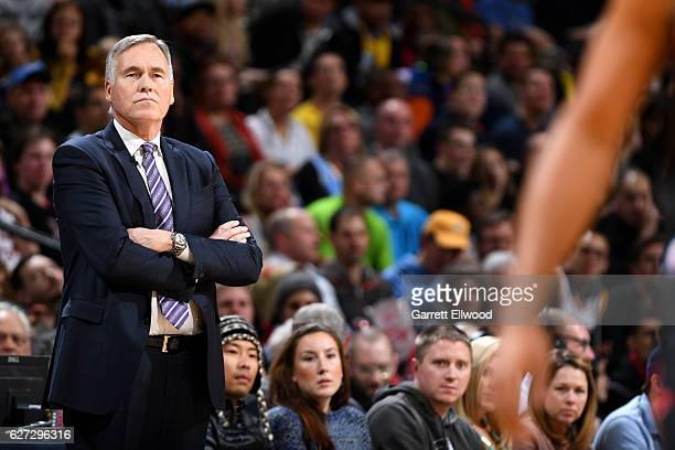 Mike D'Antoni of the Houston Rockets looks on during the game against the Denver Nuggets on December 2 2016 at the Pepsi Center in Denver Colorado...