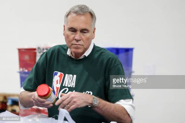 Mike D'Antoni of the Houston Rockets participate at LA food bank during NBA Cares AllStar Day of Service as a part of 2018 NBA AllStar Weekend on...