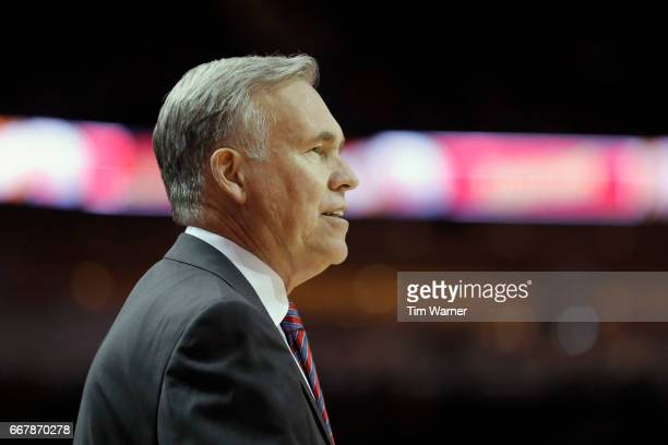 Mike D'Antoni of the Houston Rockets reacts on the bench in the first half against the Denver Nuggets at Toyota Center on April 5 2017 in Houston...