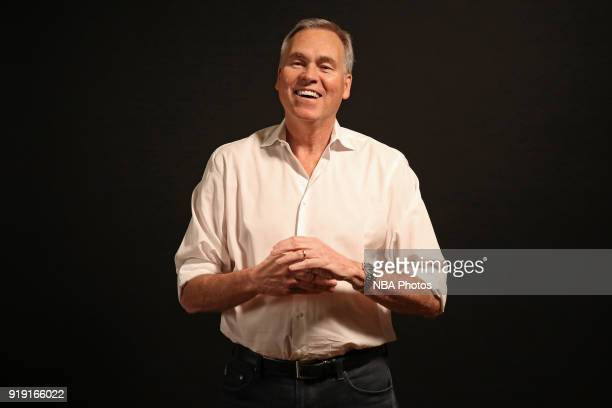 Mike D'Antoni of the Houston Rockets smiles during a portrait shoot as part of the 2018 NBA AllStar Weekend on February 16 2018 at the Mariott in Los...