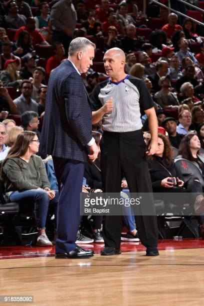 Mike D'Antoni of the Houston Rockets speaks to Referee Jacyn Goble during the game against the Denver Nuggets on February 9 2018 at the Toyota Center...